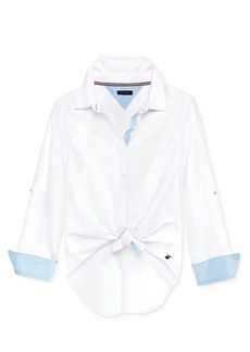 Tommy Hilfiger Tie-Front Shirt, Big Girls