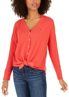 Tommy Hilfiger Tie-Hem V-Neck Cardigan, Created For Macy's