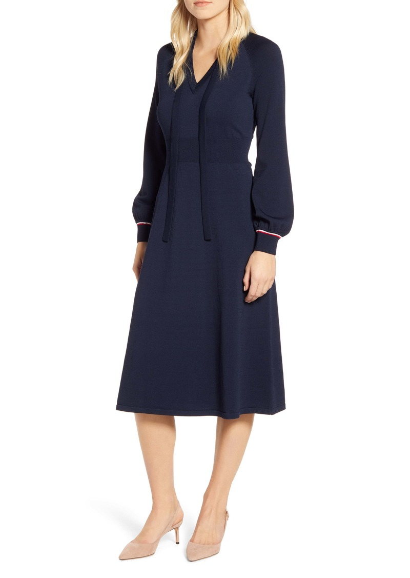 Tommy Hilfiger Tie Neck Long Sleeve Midi Sweater Dress