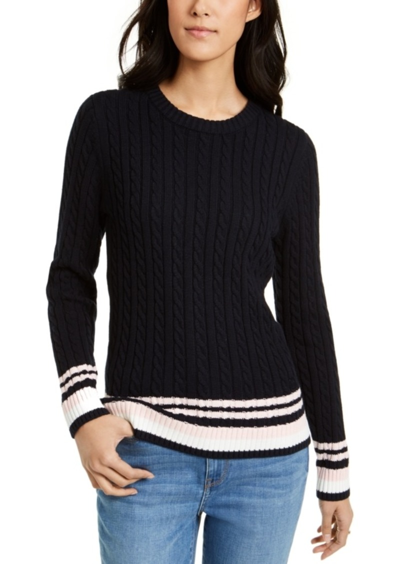 Tommy Hilfiger Tipped Cable-Knit Sweater