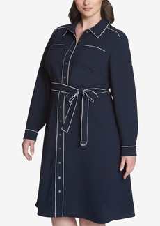 Tommy Hilfiger Tipped Plus Size Shirtdress, Created for Macy's