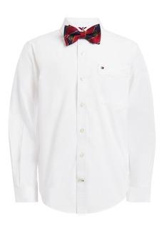 Tommy Hilfiger Toddler Boys 2-Pc. Miles Poplin Dress Shirt & Logo Stripe Bow Tie Set