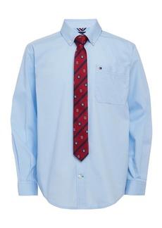 Tommy Hilfiger Toddler Boys 2-Pc. Neal Poplin Shirt & Logo Stripe Tie Set