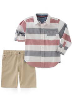 Tommy Hilfiger Toddler Boys' 2 Pieces Long Sleeves Shirt Shorts Set