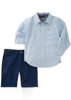 Tommy Hilfiger Boys' Toddler 2 Pieces Long Sleeves Shirt Shorts Set