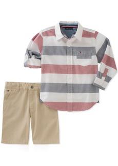 Tommy Hilfiger Toddler Boys' 2 Pieces Long Sleeves Shirt Shorts Set