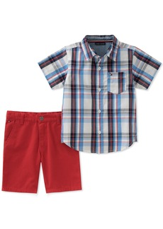Tommy Hilfiger Boys' Toddler 2 Pieces Shirt Shorts Set Blue/red
