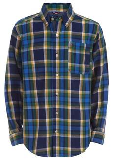 Tommy Hilfiger Toddler Boys Basil Yarn-Dyed Plaid Logo-Print Shirt