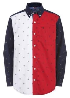 Tommy Hilfiger Toddler Boys Norris Colorblocked Logo-Print Poplin Shirt