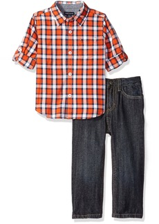 Tommy Hilfiger Little Boys' Toddler Roll up Sleeve Plaid Shirt with Denim Pant Set