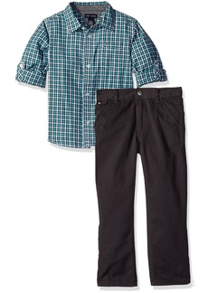 Tommy Hilfiger Little Boys' Toddler Roll up Sleeves Shirt with Twill Pants Set-