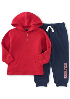 Tommy Hilfiger Little Boys' Toddler Thermal Hooded Top with Fleece Pants Set