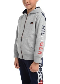 Tommy Hilfiger Toddler Boys Tim Icon Pieced Colorblocked Full-Zip Fleece Logo Hoodie