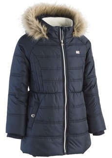 Tommy Hilfiger Toddler Girls Hooded Puffer Jacket with Faux-Fur Trim
