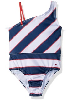 Tommy Hilfiger Toddler Girls' One-Piece Swimsuit Flag-Blue