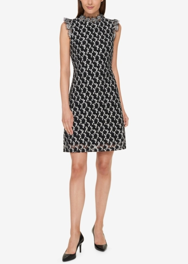 Tommy Hilfiger Two-Tone Lace High-Neck Dress