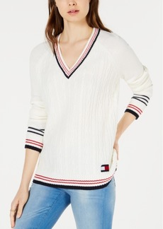 Tommy Hilfiger V-Neck Cable-Knit Sweater, Created for Macy's