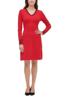 Tommy Hilfiger V-Neck Cable-Knit Sweater Dress