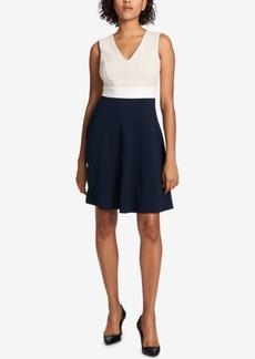 Tommy Hilfiger V-Neck Colorblocked Fit & Flare Dress