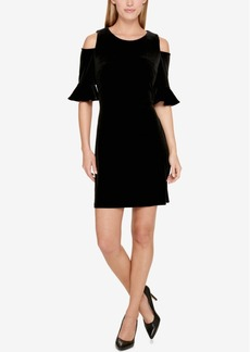 Tommy Hilfiger Velvet Cold-Shoulder Dress