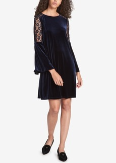Tommy Hilfiger Velvet Crochet-Lace Dress, Created for Macy's