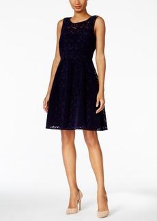 Tommy Hilfiger Velvet Floral Lace Fit & Flare Dress