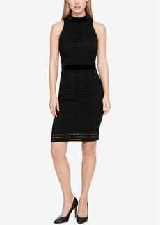Tommy Hilfiger Velvet Lace Mock-Neck Sheath Dress