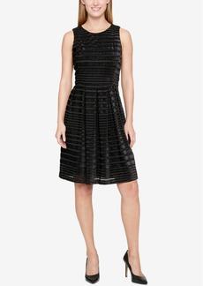 Tommy Hilfiger Velvet Shadow-Stripe Fit & Flare Dress