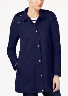 Tommy Hilfiger Water-Resistant Hooded Snap-Front Raincoat