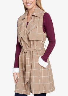 Tommy Hilfiger Windowpane Belted Vest, Created for Macy's