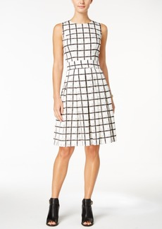Tommy Hilfiger Windowpane Plaid Fit & Flare Dress
