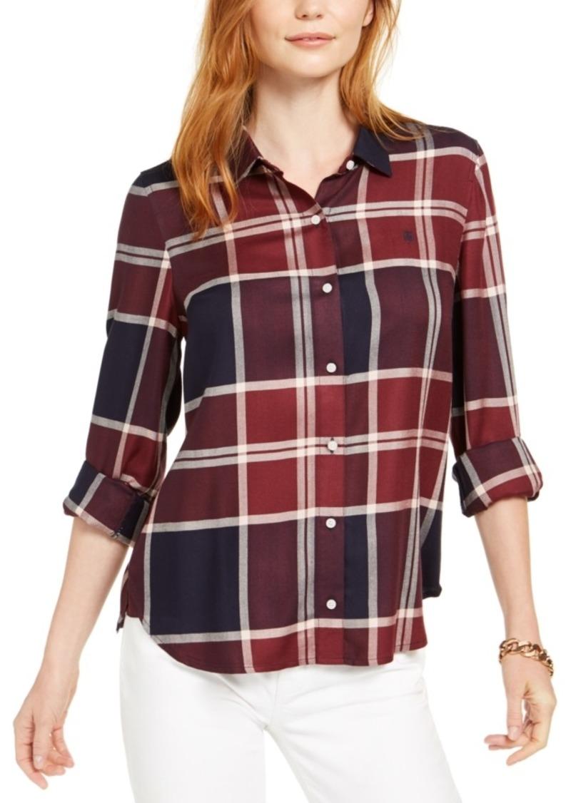 Tommy Hilfiger Windowpane Plaid Roll-Tab Shirt