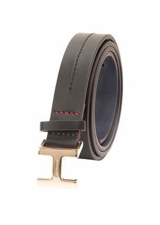 Tommy Hilfiger Women's 100% Leather Fashion Belt TH Black
