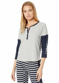 Tommy Hilfiger Women's 3/4 Sleeve Sleep T-Shirt Pajama Top Heather Grey/Navy