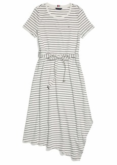 Tommy Hilfiger Women's Adaptive Assymetrical Short Sleeve Dress with Wide Neck Opening  L
