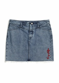 Tommy Hilfiger Women's Adaptive Denim Skirt with Magnetic Fly Light WASH