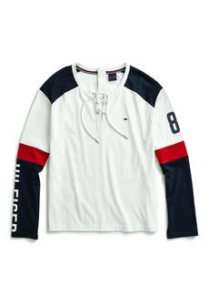 Tommy Hilfiger Women's Adaptive Icon Long Sleeve Crop Top T Shirt with Magnetic Buttons White/Black/red XL