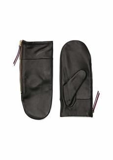 Tommy Hilfiger Women's Adaptive Leather Mitten TH DEEP BLACK S-M