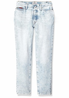 Tommy Hilfiger Women's Adaptive Mom Fit Jeans with Adjustable Hems and Velcro Brand Closure