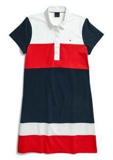 Tommy Hilfiger Women's Adaptive Polo Dress with Magnetic Buttons core Navy/Bright White/High Risk Red XL