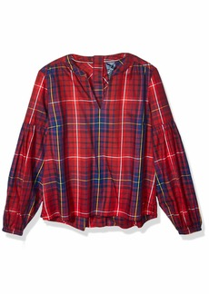 Tommy Hilfiger Women's Adaptive Seated Fit Tunic Shirt with Velcro Brand Closure rhododendron/medium LG