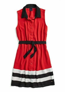 Tommy Hilfiger Women's Adaptive Sleeveless Shirt Dress with Magnetic Buttons and Velcro Belt  S