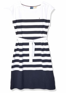 Tommy Hilfiger Women's Adaptive Striped Dress with Magnetic Closure at Shoulders  X Small