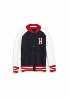 Tommy Hilfiger Women's Adaptive Varsity Jacket with Magnetic Buttons Navy/red/White