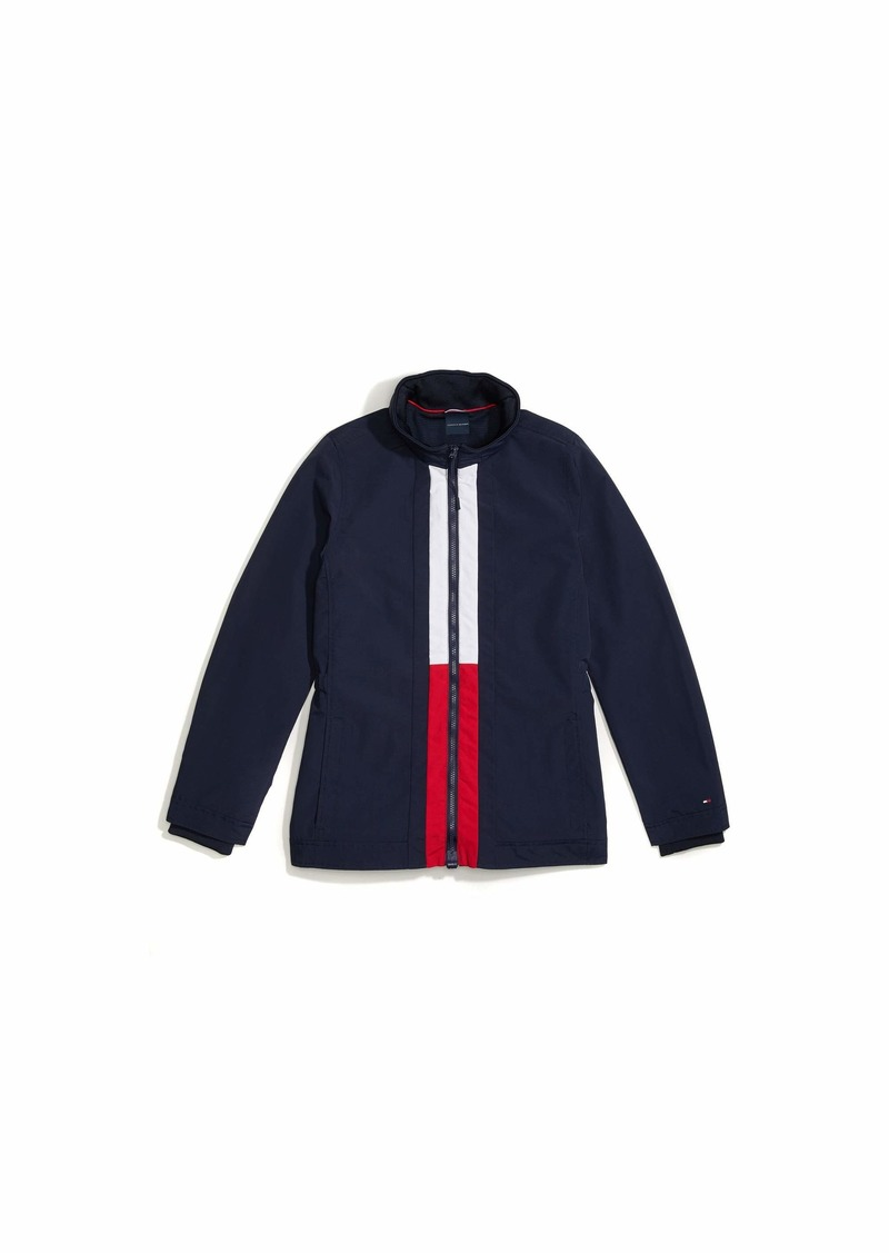 Tommy Hilfiger Women's Adaptive Windbreaker Jacket with Magnetic Zipper Masters Navy/Bright White Tango RED-PT M