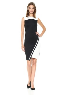 Tommy Hilfiger Women's Assymetrical Heavy Weight Scuba Dress Black/Ivory