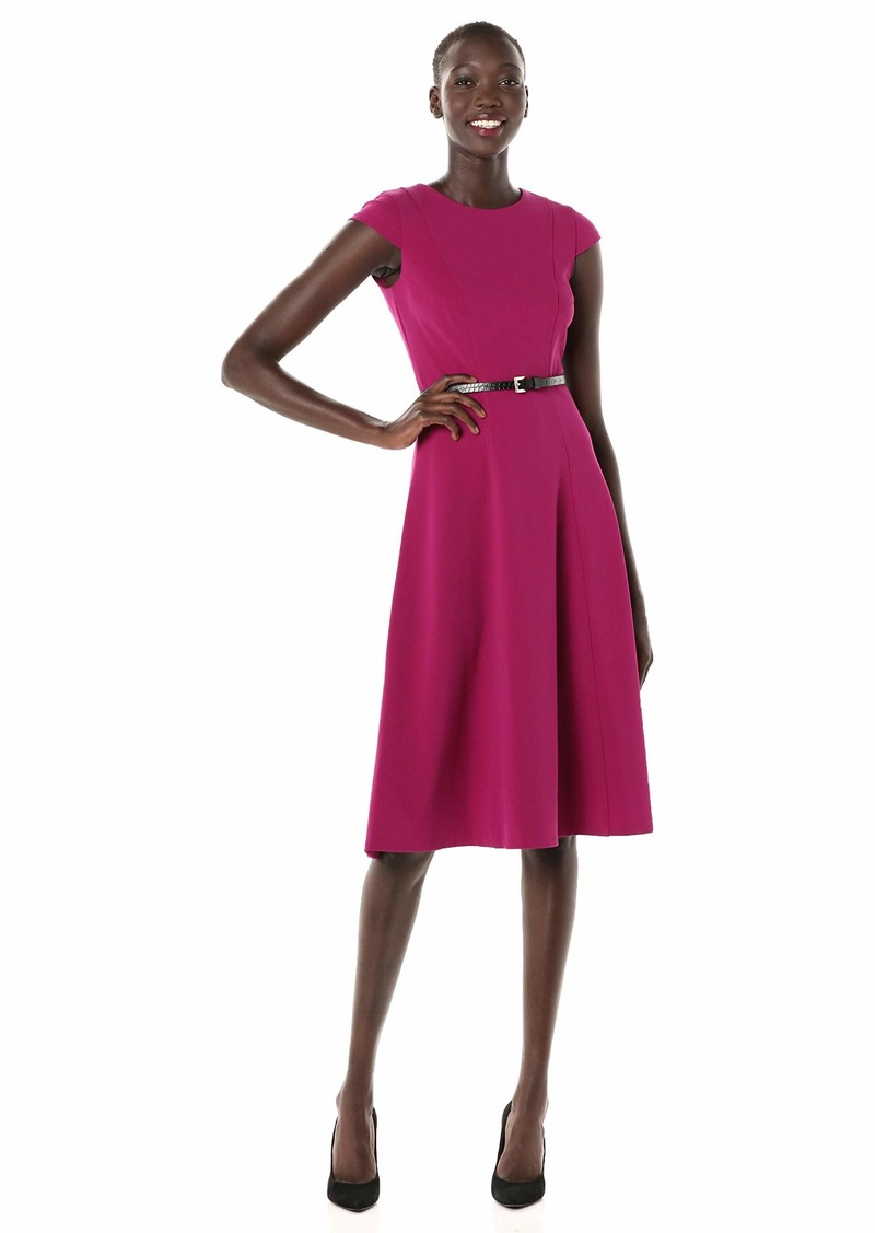 Tommy Hilfiger Women's Belted Fit and Flare Midi