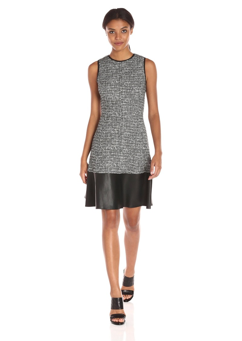 Tommy Hilfiger Women's Boucle Knit Fit and Flare W. Leather Band Black-Ivory