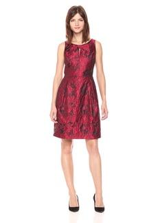 Tommy Hilfiger Women's Bouquet Jacquard Dress With Knot Neck