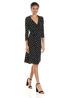 Tommy Hilfiger Women's Brookside Print Matte Jersey Faux Wrap Dress